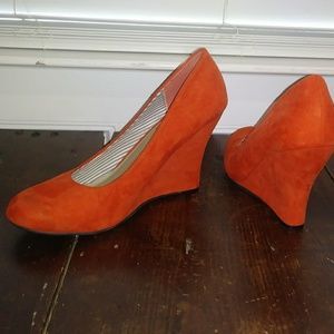 Ladies orange suede wedges